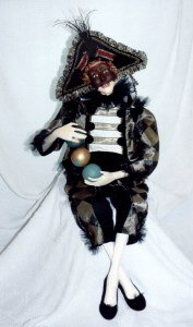"Dramatic 38"" clown with clay mask dressed in silks and velvets. Cloth Doll Pattern"
