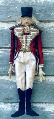"Delightful 17"" cloth nutcracker with removable velvet boots. - Doll making pattern.  Sewing Instructions"