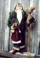 "Fantastic 42"" Santa and Moose companion constructed over 2 x 4 wood and dowel support structure."
