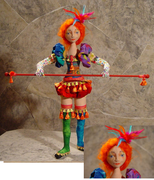 "20"" needle sculpted performer is wired to stand alone. Cloth Doll Making and Sewing Pattern"