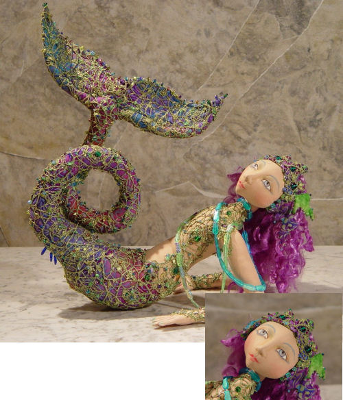 "Cloth Doll Pattern for this breathtakingly beautiful 17"" reclining mermaid."