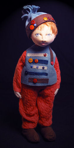 "What a charming 10"" fellow in his felt and button trimmed cap and vest!"" - Pattern Available"