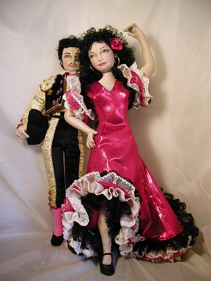 "Doll Pattern for Making this Flirtatious 18"" dancer wears an elaborate Flamenco costume and dancing shoes to charm the Matador."