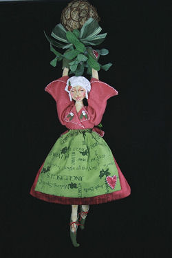 "This wonderful 15"" doll suspended from a grapevine ball with mistletoe - Cloth Doll Pattern Available"