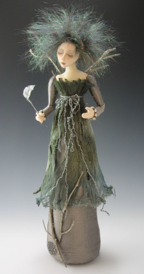 "Enchanting 16"" stump angel clothed in"