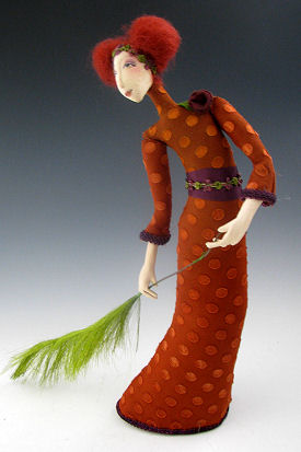 "This striking 15"" stump doll with wool roving hair is a study in gracefulness."