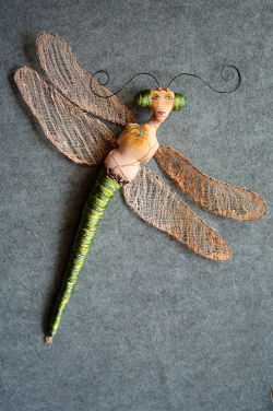 "Damselfly - Cloth Sewing pattern - You'll learn how to make rusted cheesecloth (scrim) to form the wings of this exotic 15"" creature whose body is wrapped in rayon thread."