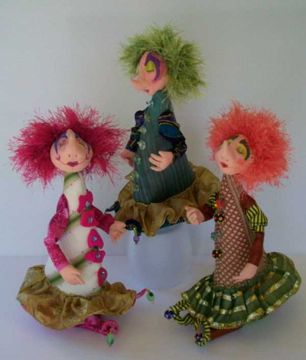 "These marvelous 12"" stump dolls with three different bright, colorful faces - Cloth Doll Pattern Available"