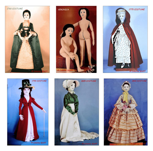 """VERONICA"" SERIES A Cloth Doll and Costume Sewing Pattern Historic  Series"