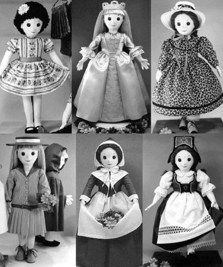 "PENELOPE"" cloth doll pattern and 6 Cloth Doll Costume Patterns - Sewing Project"