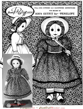 Penelope's 1830 Outfit - Costume Pattern - Sewing Pattern for Dolls