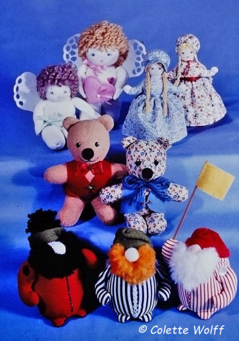 Four Little Dolls - Sewing Pattern - Bear,Angel and dolls.