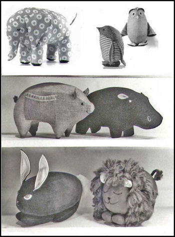 Little Stuffed Animals Sewing Pattern.  Soft Animals