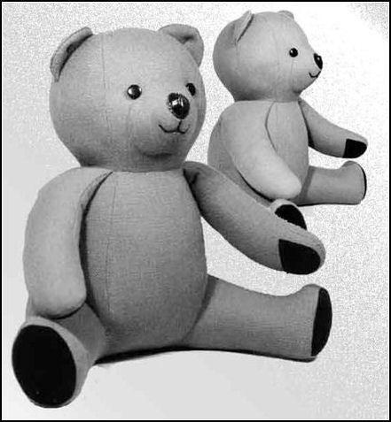 "Teddy Bear (1o"") Animal Soft Doll Sewing Pattern.  Stuffed Animal"