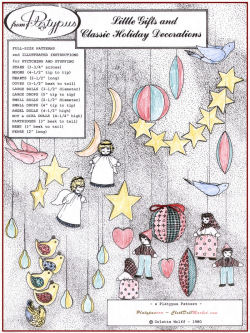 "sewing pattern for  3/4"" Stars, 4 1/2"" Moons, 2 1/2"" Hearts, 5 1/2"" Doves, 3 1/2"" and 2 1/2"" Balls, 5"" and 4"" drops, 4 1/2"" Angel dolls, 4 1/2"" Boy and Girl dolls, 3"" Hens and Partridges, and 2"" Pears."
