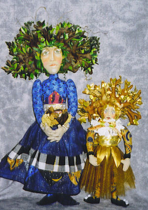 "10"" and 15"" cloth dolls with amazing three branch headdresses."