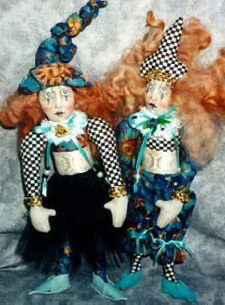"Colorfully dressed 8"" jester with lots of personality. Cloth doll Sewing Pattern"
