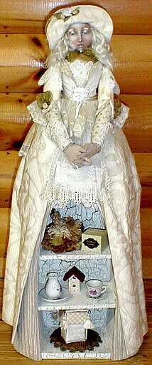 Fabulous doll constructed over a store-bought boat shelf that can display your precious treasures. Sewing Pattern