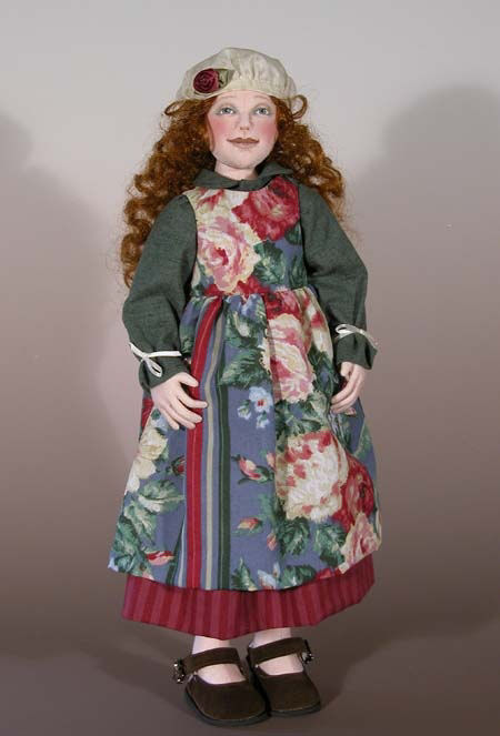 "beautiful 18"" button-jointed doll made from velour or bucksuede has a unique 5 piece head."