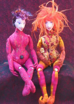 "15"" bead jointed dolls with wired fingers and needle sculpted faces."