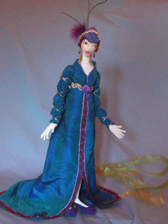 "This regal 14"" doll beautifully dressed in 1920's evening attire stands alone with interior leg supports."