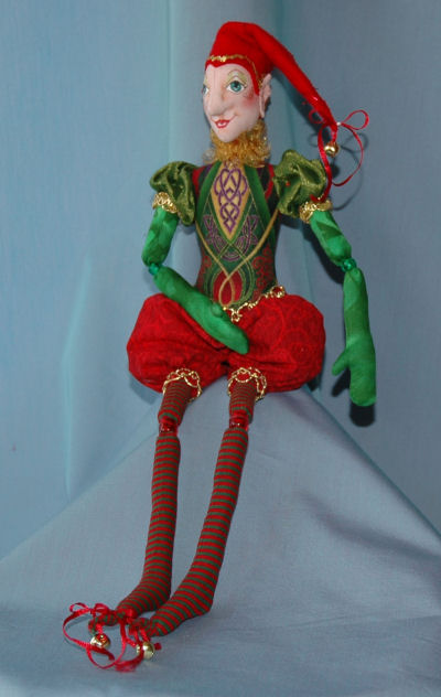 "15"" bead-jointed elf dressed in the finest fabrics and trims. Cloth Doll Pattern"