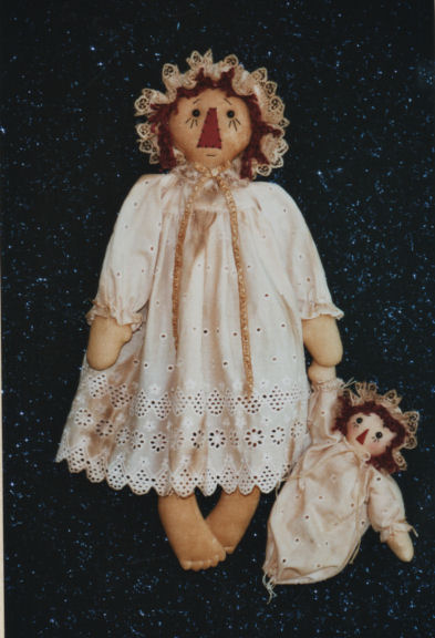 "This precious 21"" raggedy and her little dolly are so quick and easy to make"