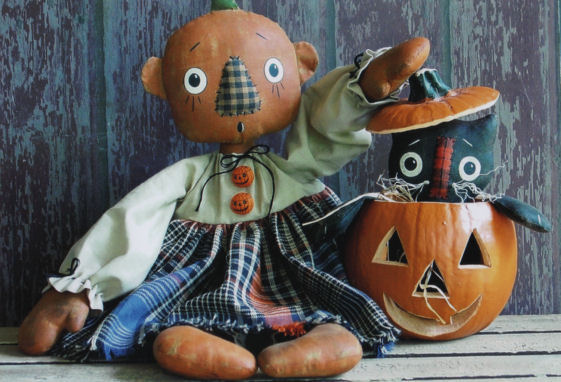 "Look what this 16"" pumpkin head doll found inside her polyurethane pumpkin!"