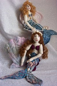 Cloth Doll Sewing Pattern - mermaids comes with quilted clam and scallop shells.