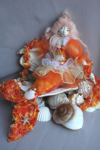 Audrina, 16 inch Mermaid Cloth Doll, with Cloth Seashell - Cloth Doll Making Sewing Pattern
