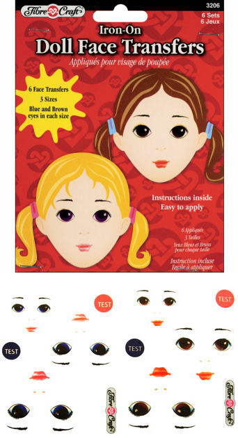Iron-On Doll Face Transfers