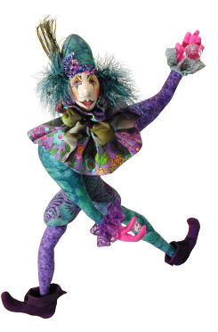 "Cloth Doll - This colorful 19"" clown with wired hands and some bead work has lots of posing possibilities."