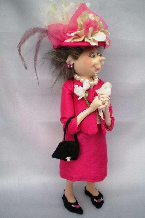 Mother of the Bride cloth doll pattern by Jill Maas.