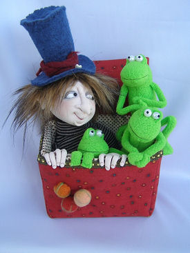 Fred and Frogs in a Box cloth doll pattern by Jill Maas.