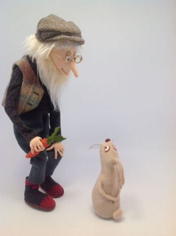 Flint the old gardener and his friend Roger Rabbit cloth doll pattern by Jill Maas.