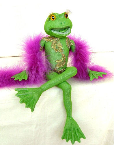 "Glamorous 8"" seated amphibian with tons of personality! - Frog Cloth Doll Making Sewing Pattern and Instructions"