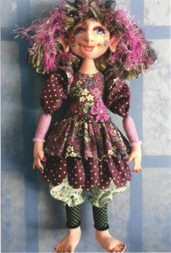 "CLoth Doll Sewing Pattern - beauty is 16"" of wildly colorful fun, with thread wraped joints, layered costuming and needle sculpted features."