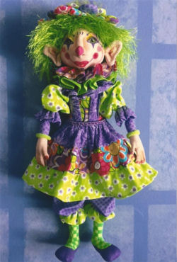 "his festive 15.5"" clown is sure to bring smiles wherever she goes! - Cloth Doll Pattern Available"
