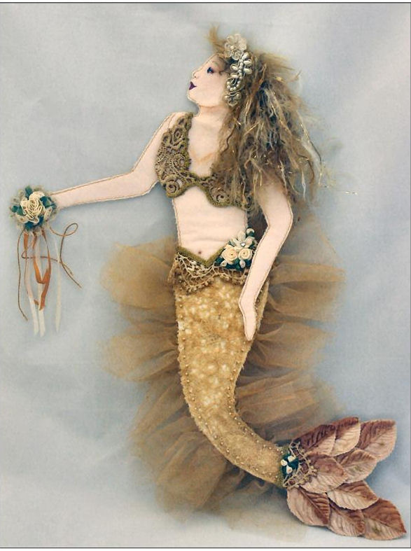 "Doll Making Sewing Pattern for beautiful 18"" flat mermaid can be made jointed or as a solid art piece."