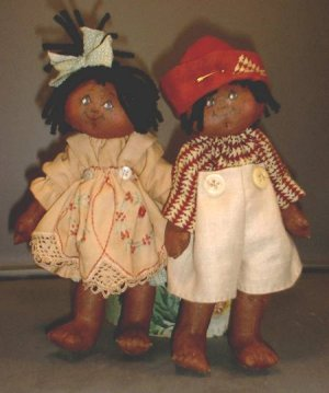 "Darling 9"" ethnic rag doll duo."