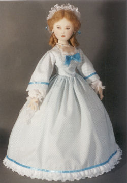 "Pattern contains diagrams and instructions for Day Dress, Bootees, Lace Cap, Jewelry, Lace Handkerchief and Hairdo. 19"" Fashion Doll by Kezi"