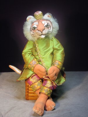 "Soft Animal Doll Pattern - This fully jointed and flexible 20"" Bengal tiger is elegantly attired in Indian style clothing."
