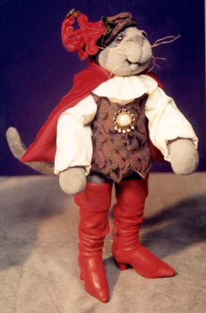 "Puss 'n Boots - 15"" feline wears his signature boots, a dashing cape and hat.  Cloth Doll Sewing Pattern"