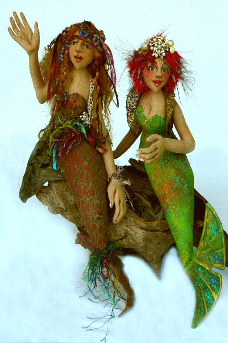 "16"" long mermaid includes detailed directions for making fully needle sculpted hands, a contoured torso and a weighted tail. Cloth Doll Making Sewing Pattern"