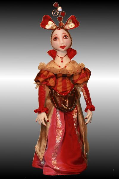 "Queen of Hearts - exquisite 17"" doll is made of cotton with a knit overlay on the face.  Sewing Pattern Available"