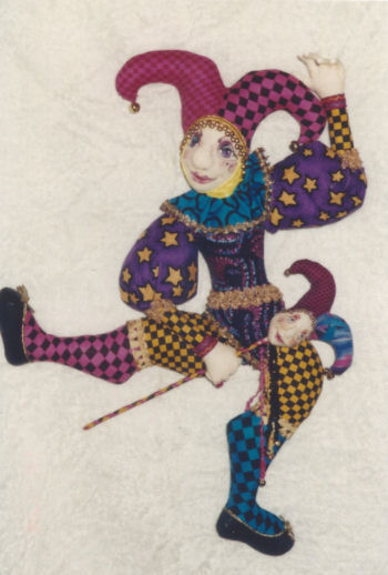 "The Jester is a very colorful 20"" wall doll."