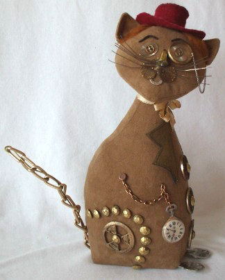 "Why not make one (or more!) of these cleverly embellished 10"" Steampunk cats for your favorite cat lovers."