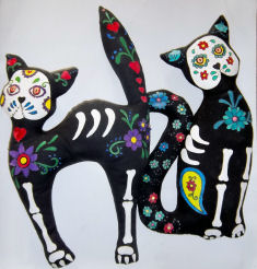 Day of The Dead Theme Cat Patterns by Laura Lunsford