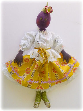 Esperanza Eggplant Cloth Doll Making Sewing Pattern by Leslie Molen