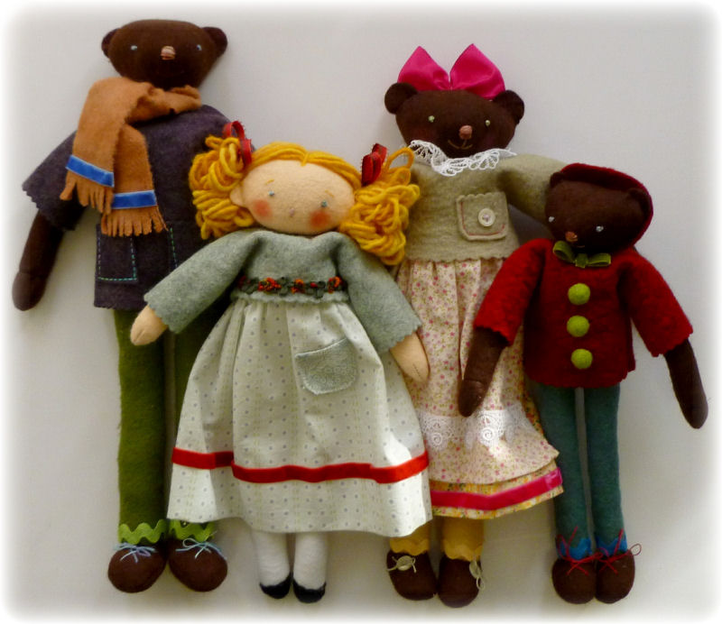 Goldi and 3 bears dolls Cloth Doll Making Sewing Pattern by Leslie Molen
